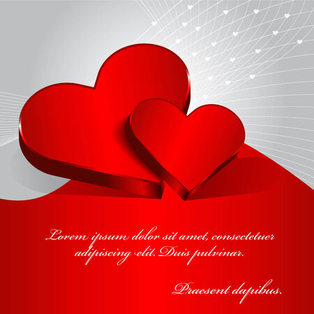 Vector red Valentine background with two hearts.  Vector