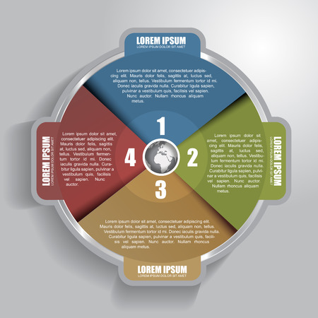 Vector infographic circle with four steps and with place for text content Vector
