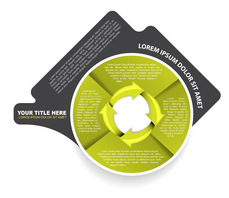 Green abstract circular diagram with arrows and four steps Vector