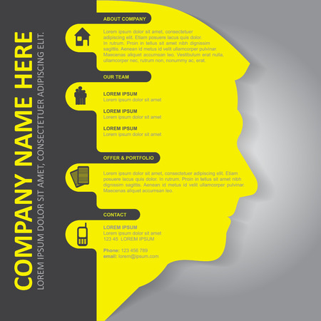 Vector infographic background with silhouette of head, contact icons and a place for text content. Can be used for brochures, posters, flyers and other prints. Illustration