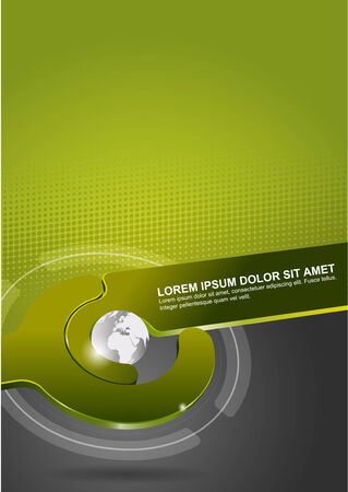 Abstract green vector tech background with globe. Can be used for poster, brochure, cover or flyer Vector