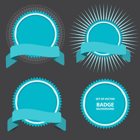 Vector set of four badges with ribbon. Can be used for website, poster or flyer as price, new, top, action and etc. Vector
