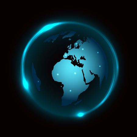 Abstract vector background with globe and blue neon light around