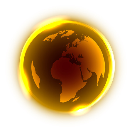 yellow earth: Abstract golden globe with yellow neon light around on white background