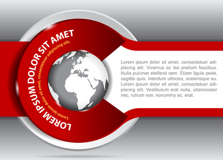 spedition: red background for brochure or flyer with a globe  Suitable for spedition, transport and travel company