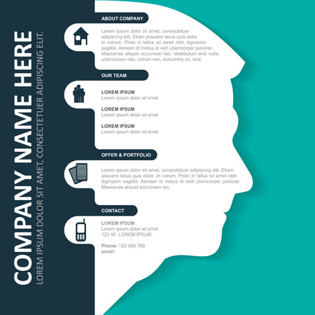 company profile: infographic background with silhouette of head, contact icons and a place for text content.