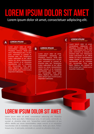 Business red background with three step and with continents Vector
