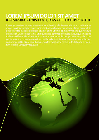 spedition: Abstract vector green background with a globe, glow and place for text. Can be used for brochure, poster or flyer.