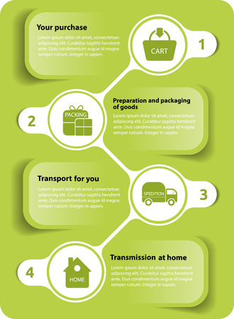 green diagram, how to shop on the Internet with four steps and place for texts Vector