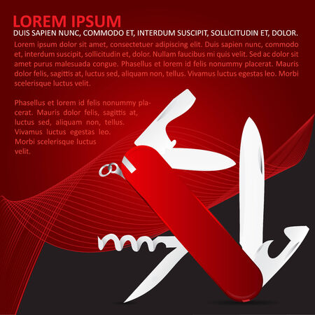 penknife: Vector abstract red background with multi-functional penknife.