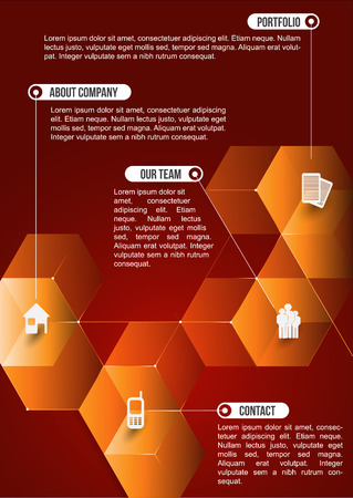 The orange abstraction cubic informative background with icons for companies. Can be used for brochure, poster, flyer or website. Illustration