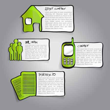 label tag: Vector abstract green infographic labels with a descriptions and hand drawn icons for company Illustration