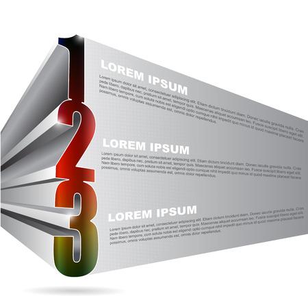 1 place: Fondo del vector 3D con 1 2 3 pasos y el lugar para el contenido del texto. Puede ser utilizado para el folleto, cartel, folleto y otra impresa.