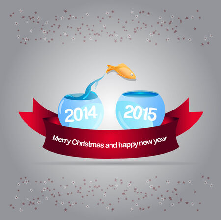 pf: Abstract vector christmas background with gold fish leaping into aquarium 2015