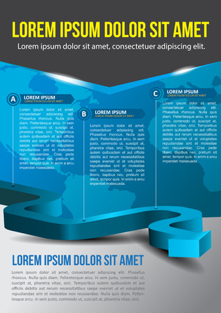 Business vector blue background with three step and with continents Vector