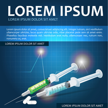 lab test: Medical vector background with injections, pills and place for text content. Can be used for brochure, poster, flyer or other prints.