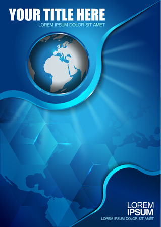 Abstract vector blue background with continents and globe for brochure Illustration