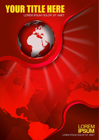 the continents: Abstract vector red background with continents and globe for brochure