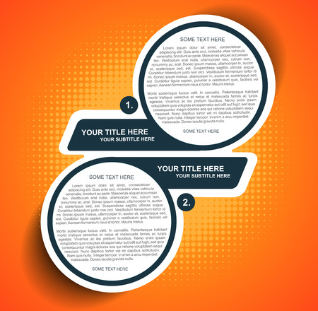 2 objects: Vector orange background diagram with two steps Illustration