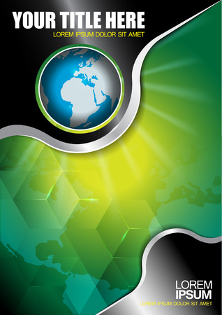 Abstract vector background with continents and globe for brochure Illustration