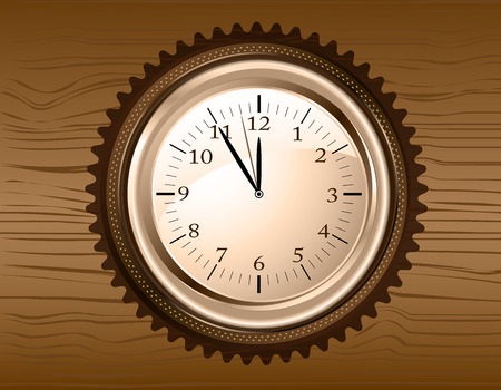 firry: Vector analog clock on a brown wooden background Illustration