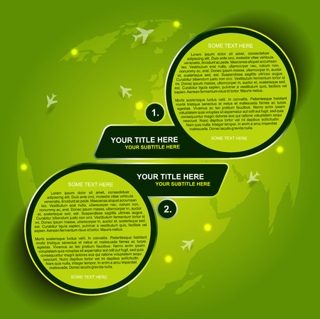 transporting: Abstract green vector background for transporting or spedition with two steps and airplane symbols on continents