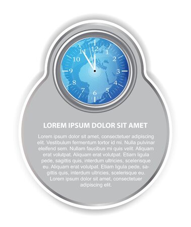 Abstract vector background with blue clock, continents,  and place for text Vector