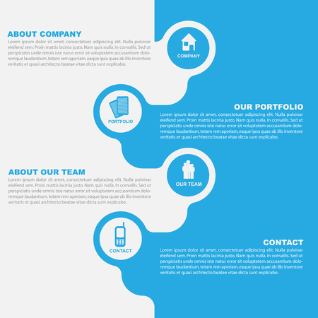 introducing: Vector abstract background of brochure with icons for company introducing Illustration