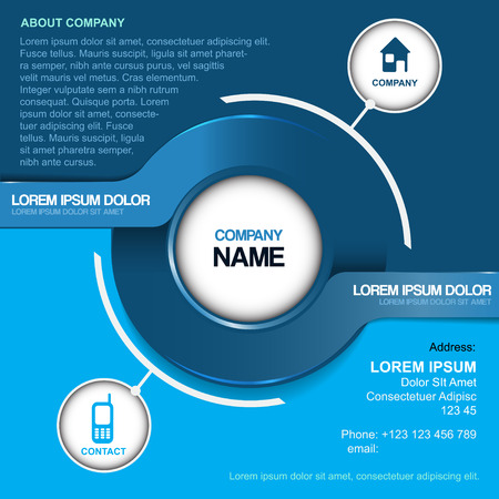 contacts: Blue abstract vector background for company contact with two label and contact icons.
