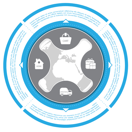 eshop: Blue circle with shopping scheme for shop and ecommerce Illustration