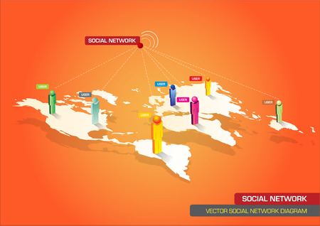the continents: Vector illustrated diagram of global social networks with continents and peoples