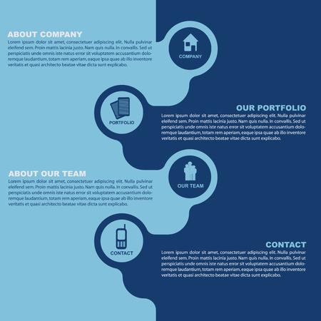 introducing: Vector de contacto azul de fondo para las empresas con el icono. Folletos dise�o simple para la introducci�n de la empresa