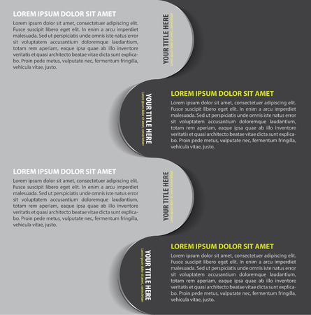 bookmarks: Gray vector background with four steps bookmarks for text Illustration