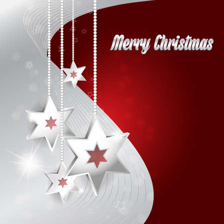pf: Vector red and gray Christmas background with Christmas decoration and bokeh effect