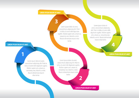 Abstract vector graph with four segments for infographic