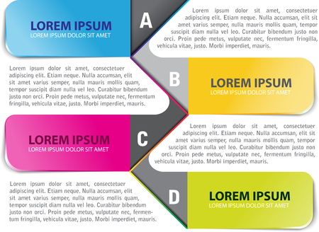 abcd: Vector colored infographic  background with ABCD steps for brochure or flyer Illustration