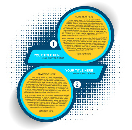 two: Vector background with one two steps - options scheme with halftone effect