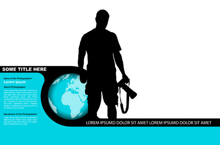 telephoto: Vector photo background with black silhouette of a photographer and globe Illustration