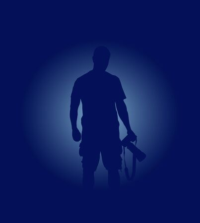 backlighting: Vector simple blue ackground with silhouette of photographer Illustration