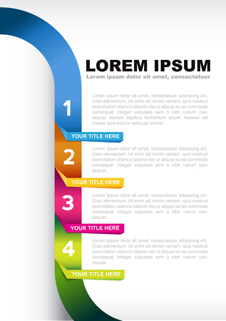 levels: Infographic four colored steps template background Illustration