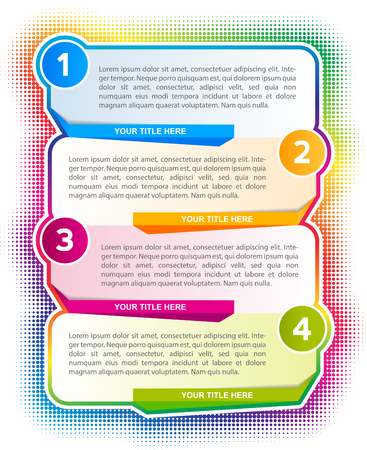 color spectrum: infographic four steps background with a color spectrum and with place for text