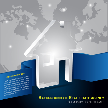 real estate agency: Vector brochure background for real estate agency with abstract house and continents.