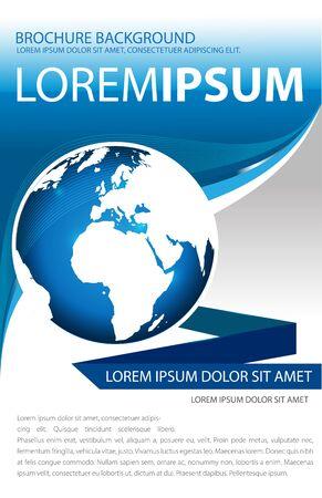 waves: Globe brochure concept design in blue color Illustration