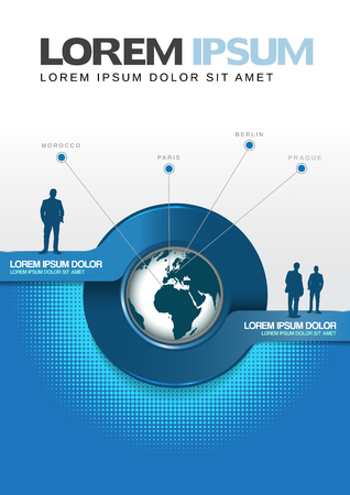 Vector blue cover of a brochure or flyer with a globe. Best use for travel or transportation company. Illustration