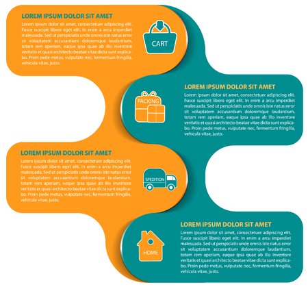 Vector abstract infographic background of logistic scheme. Shopping, packing, transportation, customer with four steps and symbols Illustration