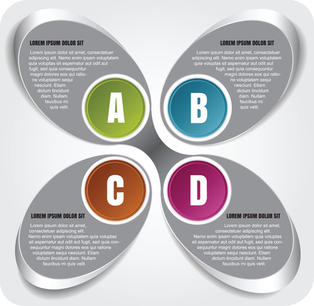 Vector abstract chrome background of the infographic ABCD steps Illustration