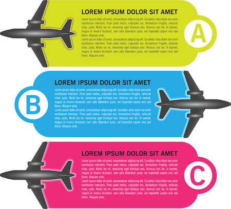 Vector infographic three ABC steps background with airplanes and places for text