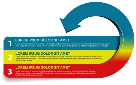 Vector background of three recycling steps scheme with numbers and places for text. Can use for flyer, poster, leaflet