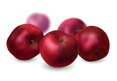 red apples: realistic red apples, isolated, vector illustration