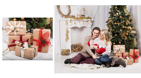 fireplace family: family in a christmas decorated room with a christmas tree and a fireplace Stock Photo